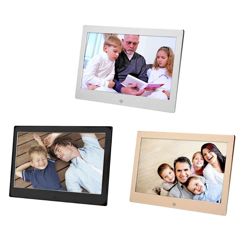VODOOL 10 Inch Metal LED Digital Photo Frame 720P Video Music Calendar Clock Player 1024x600 Resolution