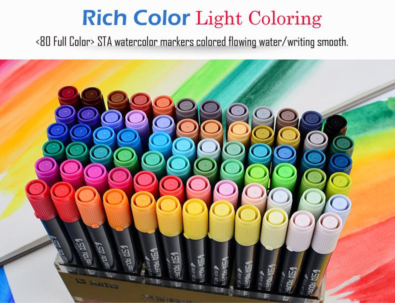 4non toxic sta brush markers ink without any toxic superb for watercolor paint on paper the colors can be scattered with water and mixed perfectly