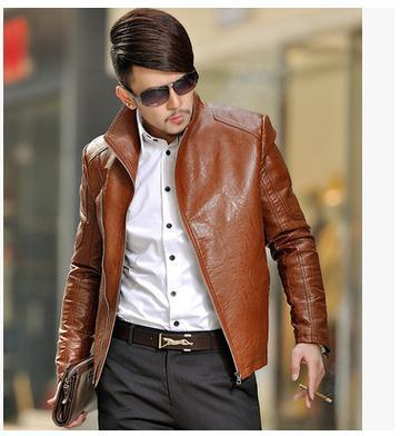 M/6Xl Men Spring And Autumn Lerther Slim Jacket Shorts Section Motorcycle Leather Jacket Plus Size Male Stand Collar Coats j1307