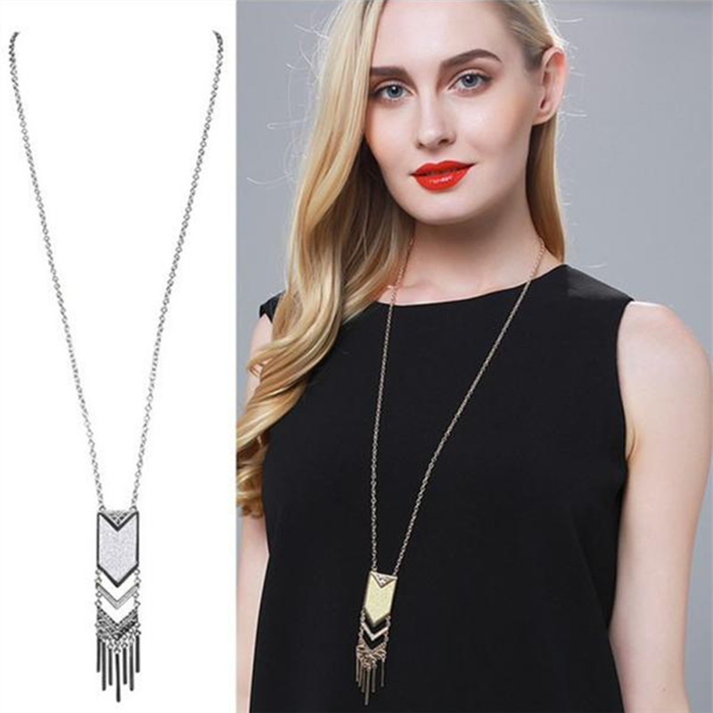 Womens Fashion Gold Silver Plated Long Chain Boho Tassels Pendant Necklaces Ladies Matte Triangle Alloy Sweater Necklace Jewelry
