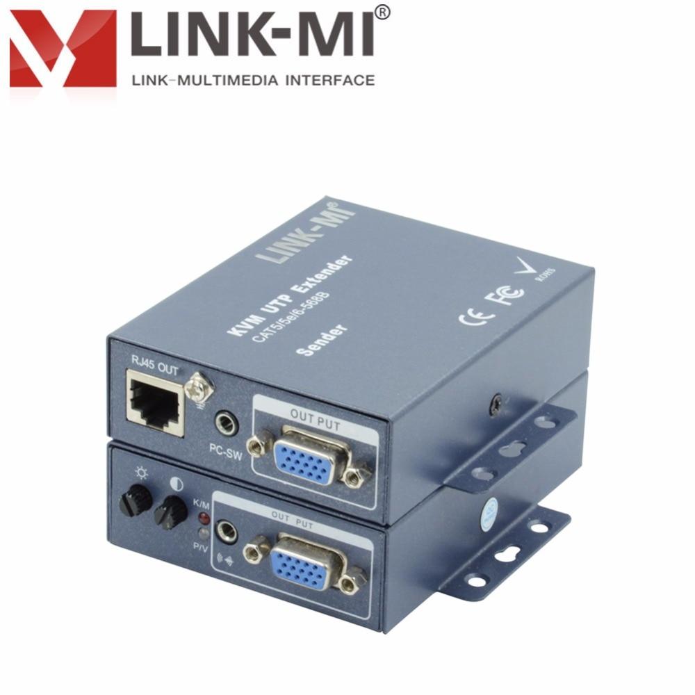 LINK-MI meilleur 100 m PS/2B KVM Extender sur UTP (CAT5E/6) câble avec clavier et souris kvm vga séparateur 1x2 Transmission