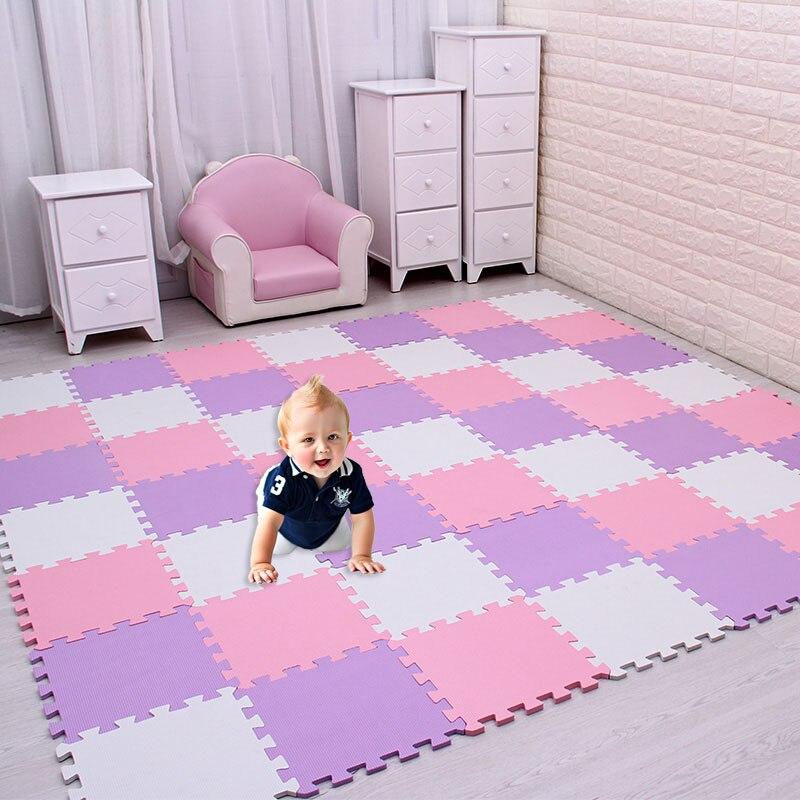 18 unid/set puzle de espuma EVA para bebés, alfombra para niños, alfombra para niños, baldosas de ejercicio entrelazadas, cada una: 29cm X 29cm
