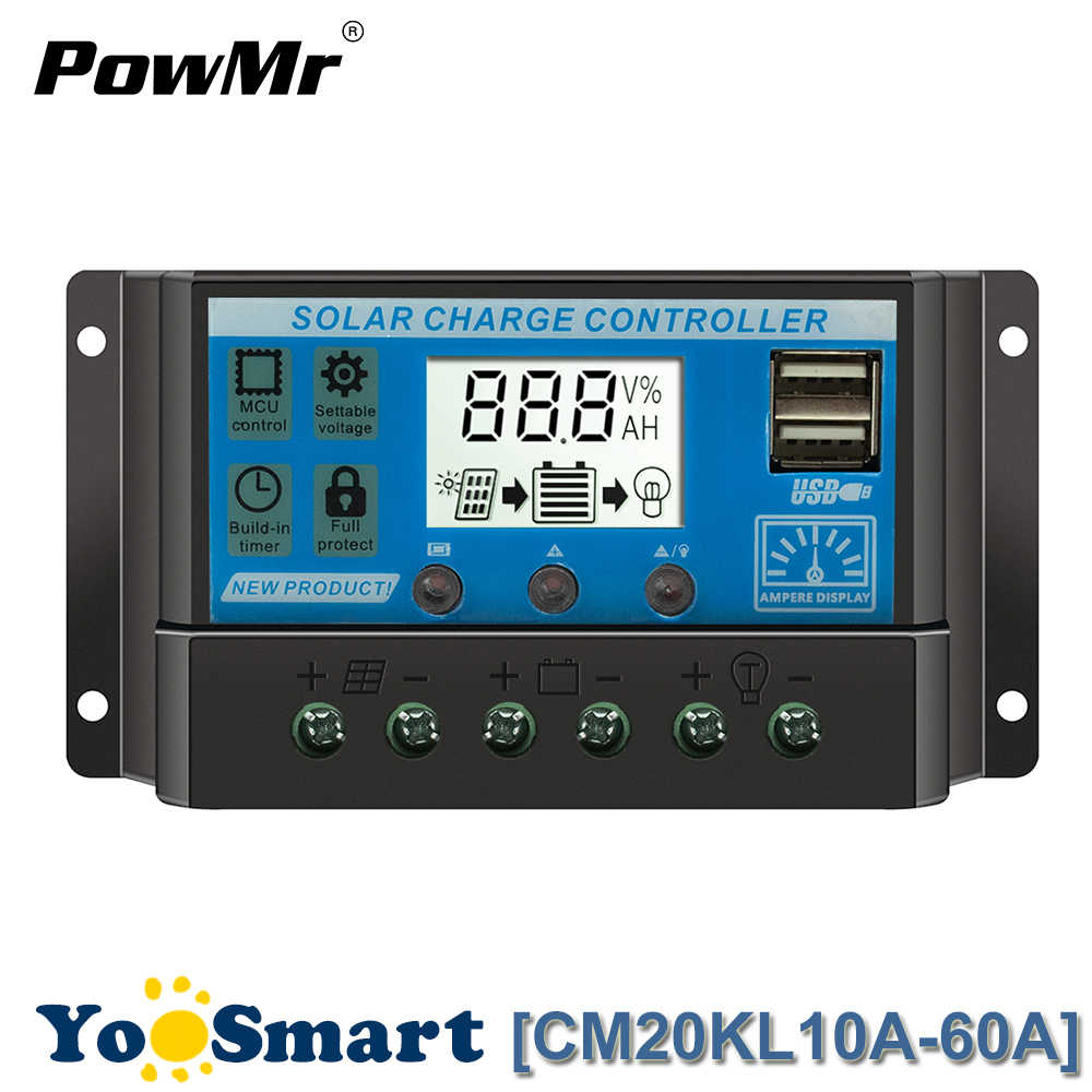 PWM Solar Charge Controller 10A 20A 30A 40A 50A 60A LCD Dual USB 5V Lead-acid and Li Battery 12V 24V Auto Solar Panel Regulator