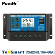 PWM Solar Charge Controller 10A 20A 30A 40A 50A 60A LCD Dual USB 5V Lead-acid and Li Battery 12V 24V Auto Panel Regulator