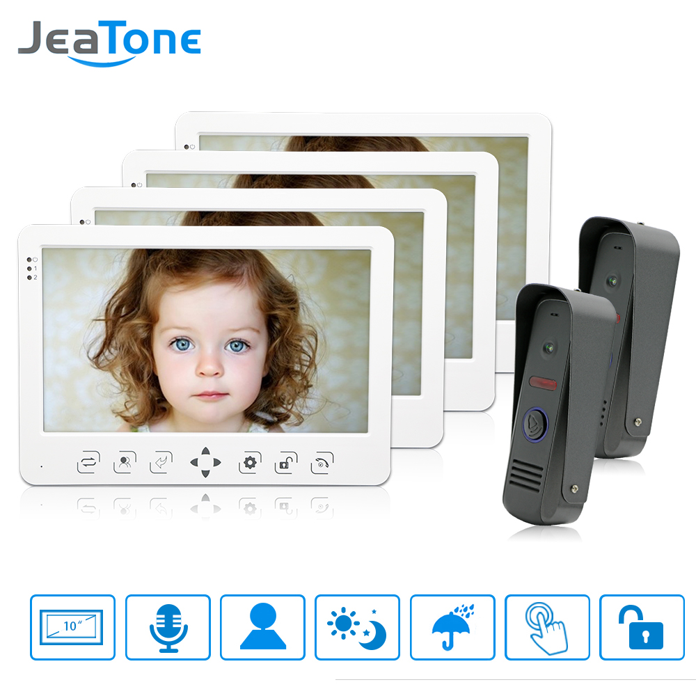 JeaTone Video Door Phone Doorbell Intercom System Color 10 LCD Monitor IR Night Camera Dual Intercom Rainproof Unit 1200TVL jeatone 7 lcd monitor wired video intercom doorbell 1 camera 2 monitors video door phone bell kit for home security system