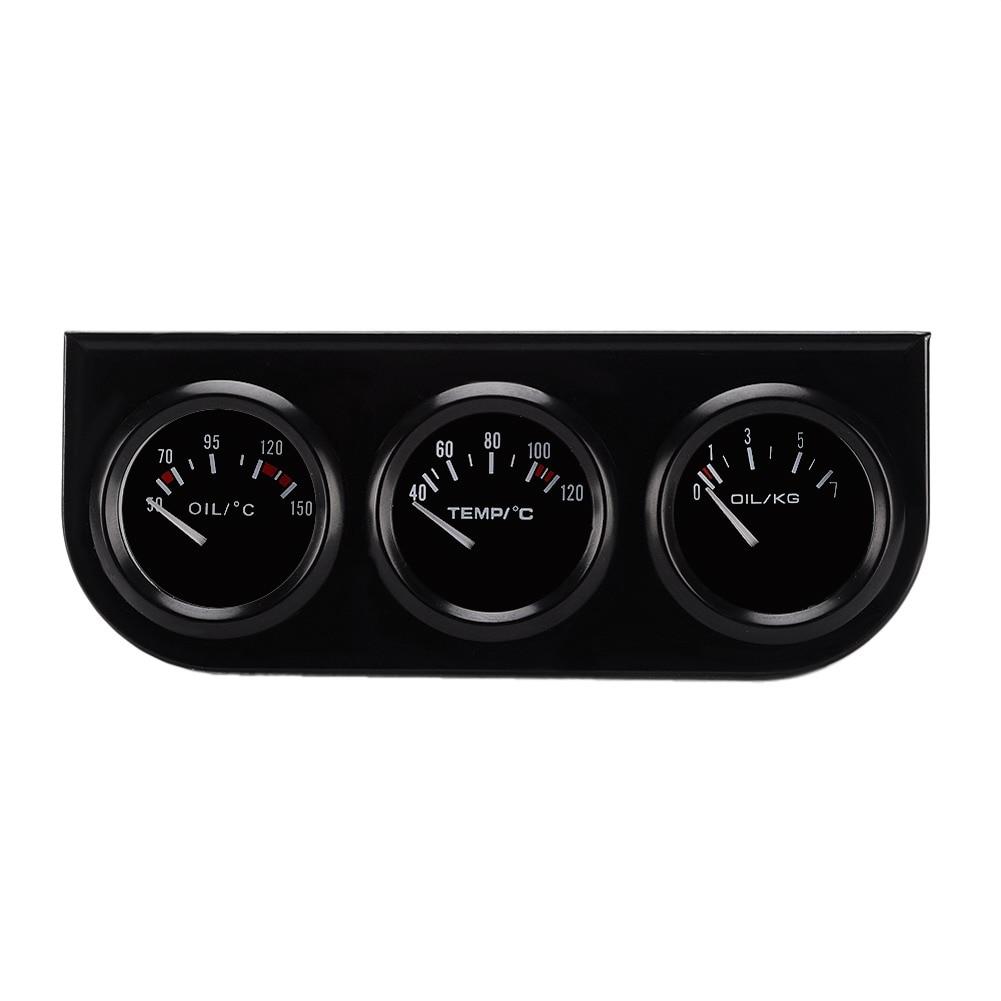 цена на Universal 52MM 3 In 1 Oil temp meter+water temp gauge+Oil Pressure Gauge Kit car meter/auto Gauge/Triple tachometer/Triple Gauge