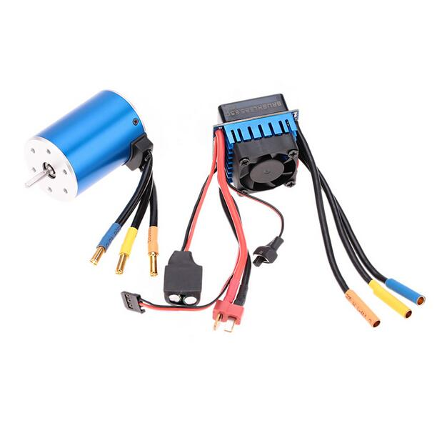 Free Shipping 3650 3100KV 4Poles sensorless brushless electric motor with 60A brushless ESC fit for 1/10 RC Car 1 10 rc car 3650 senseless brushless 4300 3100 2050kv motor
