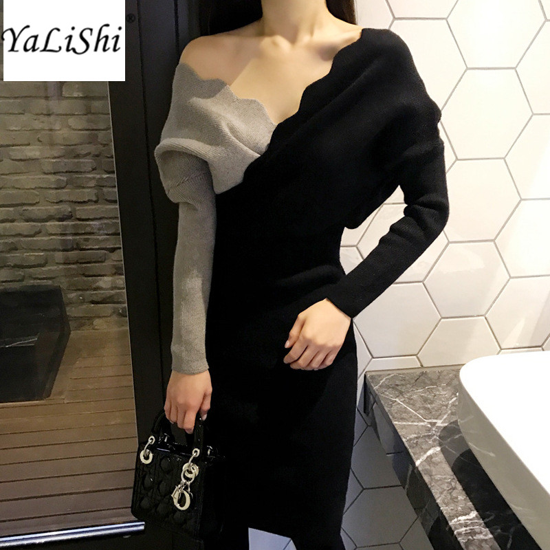 2017 Winter Women Sweater Dresses V-Neck Patchwork Batwing Sleeve Bandage Knitted Dress Vintage Party Bodycon Pencil Midi Dress
