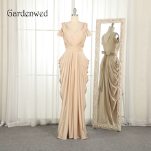 Gardenwed Champagne Evening Dress Elegant V Neck Pleated Long Woman Formal Gown Dresses Party