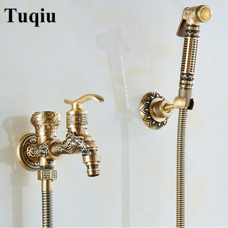 Bidet Faucet Antique Brass Wall Mounted Bathroom Hygienic Shower Sprayer Water Faucet Airbrush Toilet Washing Machine Tap