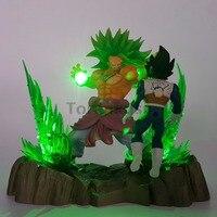 Dragon Ball Z Broy VS Vegeta PVC Action Figures Led Light Anime Dragon Ball Super Broly Beat Vegeta Figurine DBZ Toy