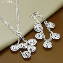 Necklaces Bracelet Round Hollow Ball Set Fashion 925 Sterling Silver Jewelry 18inch Women