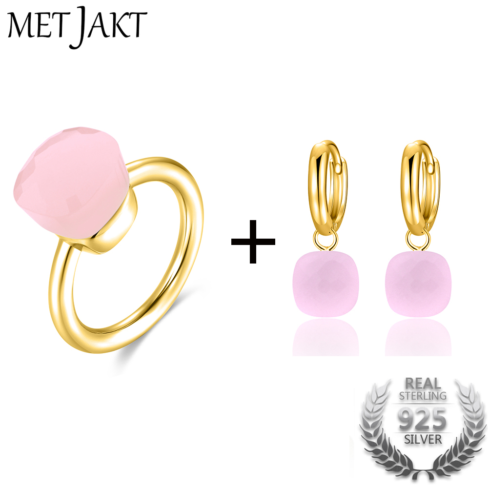 MetJakt Classic Natural Agate Topaz Ring and Earrings Jewelry Sets Solid 925 Sterling Silver with Gold