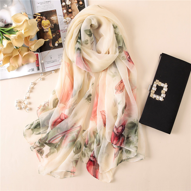 Fashion 2018 women silk   scarves   summer shawls and   wraps   big size soft pashmina lady beach stoles hijabs foulard winter   scarf
