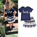 1-5y Kids Clothes Baby Girl Set 2 piece Summer 2017 Cotton Short Sleeve Children Shirt Skirt Set for Kids Toddler Girl Clothing