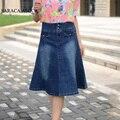 Bolsos Das Calças de Brim da primavera Plus Size S para 8XL Saias Plissadas Moda Feminina A Linha de Saias Jeans para Senhoras