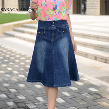 Spring Plus Size XS to 6XL Pockets Jeans Pleated Skirts Women Fashion A-line Denim Skirts for Ladies