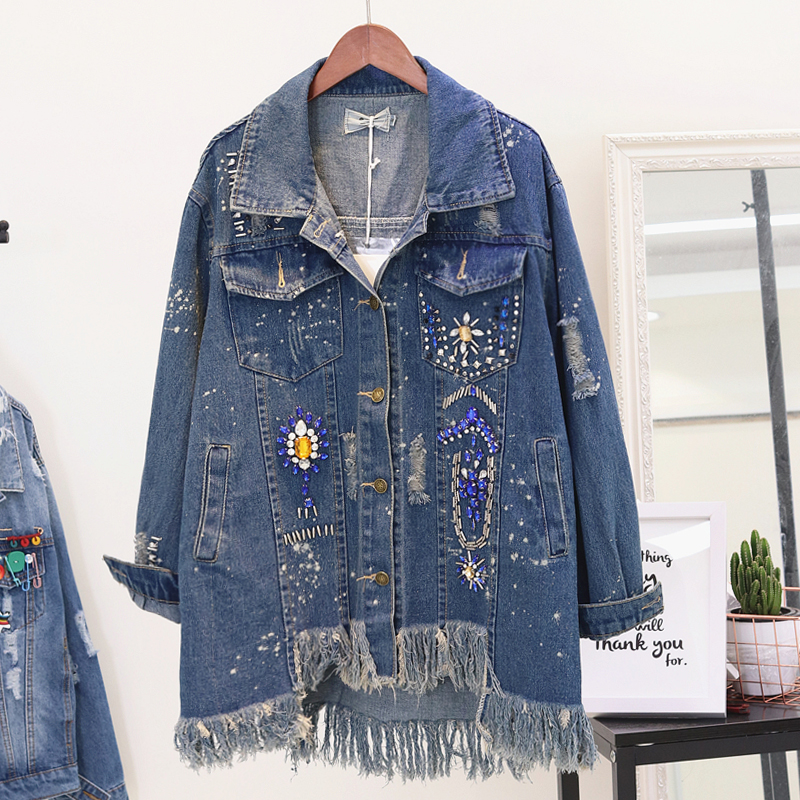 Women's Clothing Basic Jackets Holes Denim Jacket Women Spring Autumn 2019 New High Street Personality Diamond Drill-tassel Denim Jacket Loose Denim Coat Lady