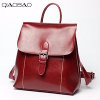 QIAOBAO Spring New Natural Cowhide leather bags shoulder bag Korean simple top layer of natural leather backpack