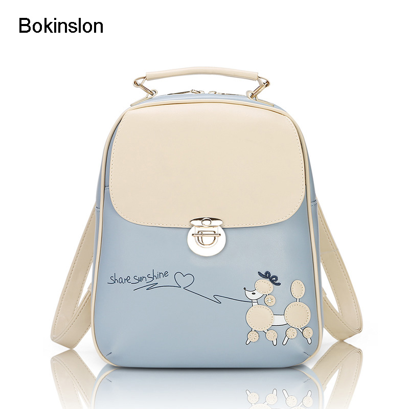 Bokinslon Casual Women Backpack PU Leather Girls College Backpack Brand Small Fresh Backpack Womens Fashionable