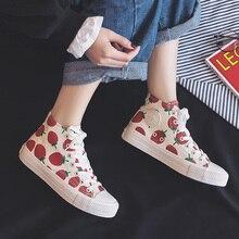 Quanzixuan 2019 New Women's Shoes Strawberry High-top Canvas