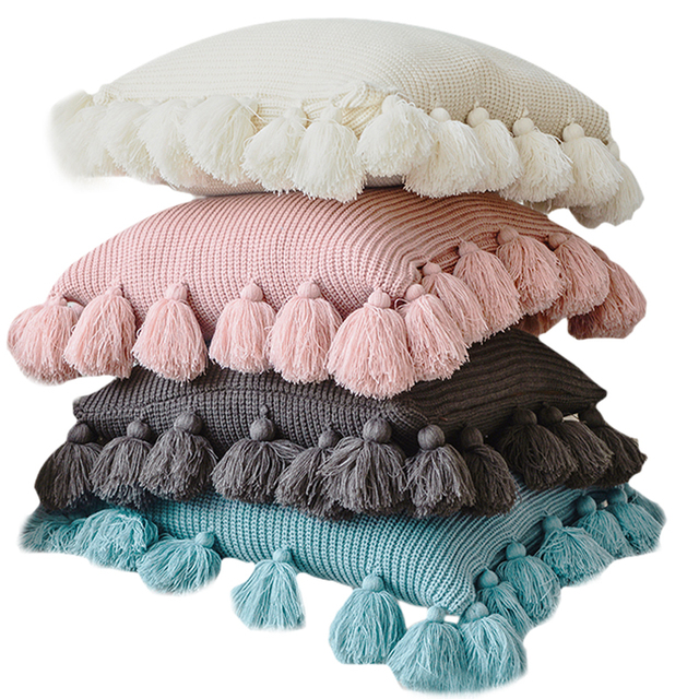 Solid Color Cushion Cover with Tassel