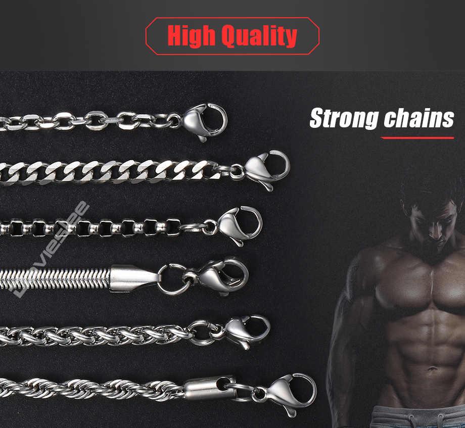 Davieslee Chain naszyjniki dla mężczyzn stal nierdzewna srebrny Rolo pszenica Box wąż łańcuchy męskie naszyjnik klasyczny 3mm 18-26 cal LKNN1