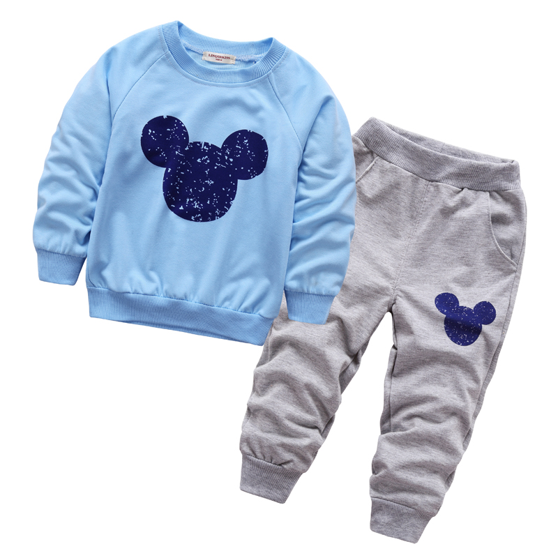 Spring fall baby mickey clothing boys girls minnie tracksuits shirt+ pants 2pcs kids boy clothes Children Infants clothing set boys girls clothing sets children cotton sport suit kids mickey minnie cartoon t shirt and pants set baby kids fashion clothes