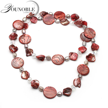 Real natural freshwater pearl shell Long necklace,trendy boho summer necklace travel
