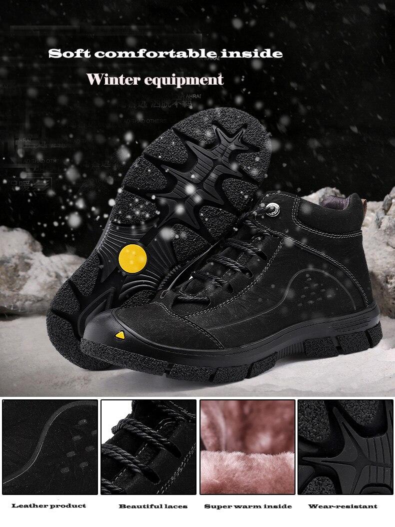 Natürliche Leder Männer Stiefel Handgemachte Top Qualität Plattform Schnee Stiefel Outdoor Herbst Und Winter Schuhe Männer