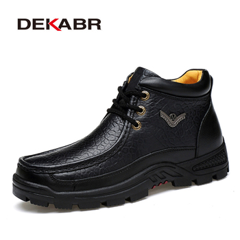 DEKABR Men Genuine Leather Men Boots High Quality Ankle Boots Autumn Winter Business Plus Fur Man Shoes Work Snow Boots