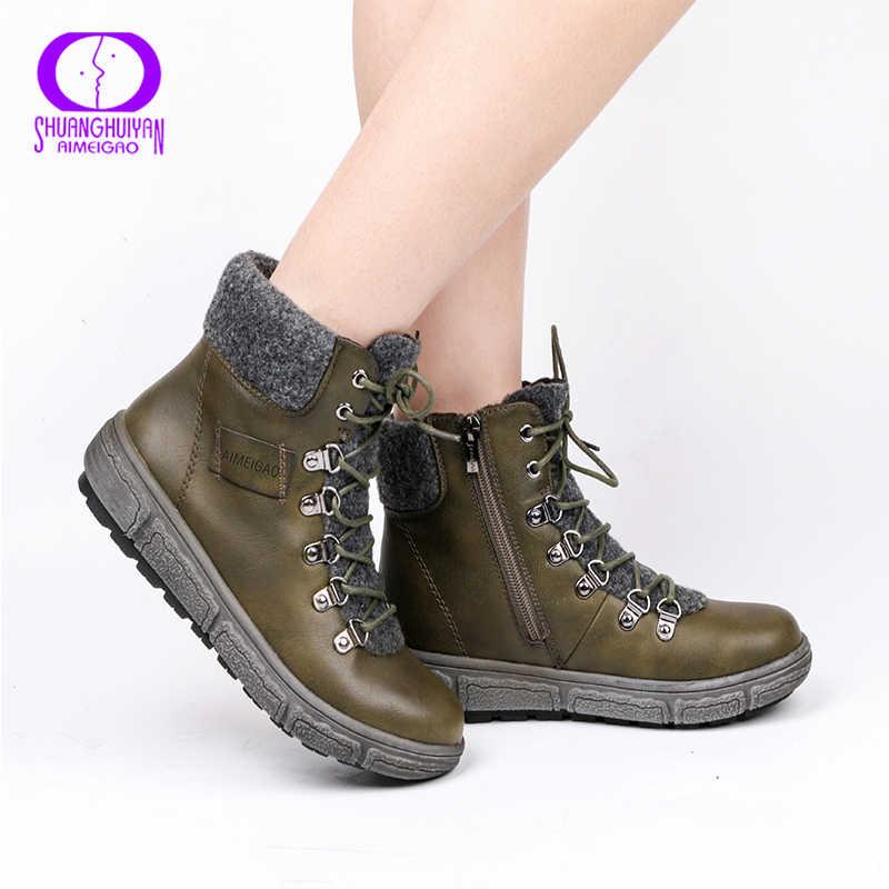 AIMEIGAO Lace Up deri motosiklet botları kadın kış peluş yarım çizmeler kadın sıcak ayakkabı fermuar düşük topuk kar botları boyutu 36- 41
