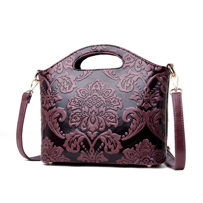 Image 4 - 2019 Luxury Flowers Handbags Women Embossed Leather Shoulder Bags