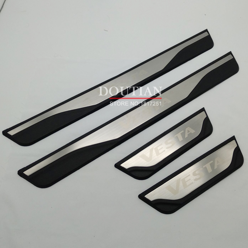 High quality Stainless Steel Door Sill Scuff Plate Welcome Pedal For LADA VESTA sw cross 2019 2018 2017 Car Styling AccessoriesHigh quality Stainless Steel Door Sill Scuff Plate Welcome Pedal For LADA VESTA sw cross 2019 2018 2017 Car Styling Accessories