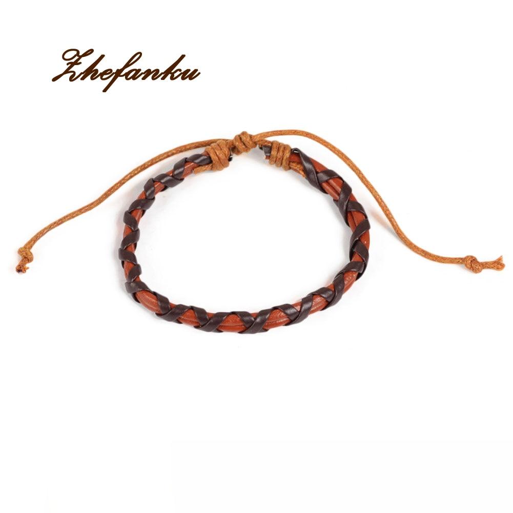 Fashion Punk Rock Stylish Bracelet Black Brown Causal Style Braided Leather Cord Bracelet