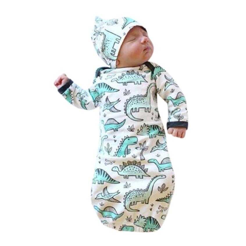 397511772ef 2018 Newborn Baby Sleeping Bag Kids Sleep Sack Infant Baby Boy Blankets  Cartoon Dinosaur Baby Winter Sleeping Bag Hat 2pcs Set