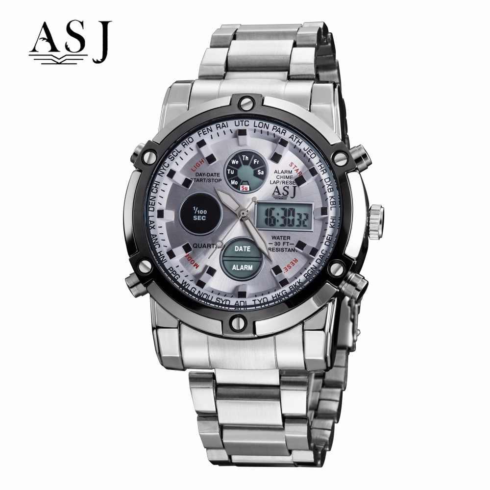 ASJ Watch Men Sport Digital Watches Men 50m Waterproof Clock Army Stainless Steel Clock Male Outdoor Swim Military Watch Relogio