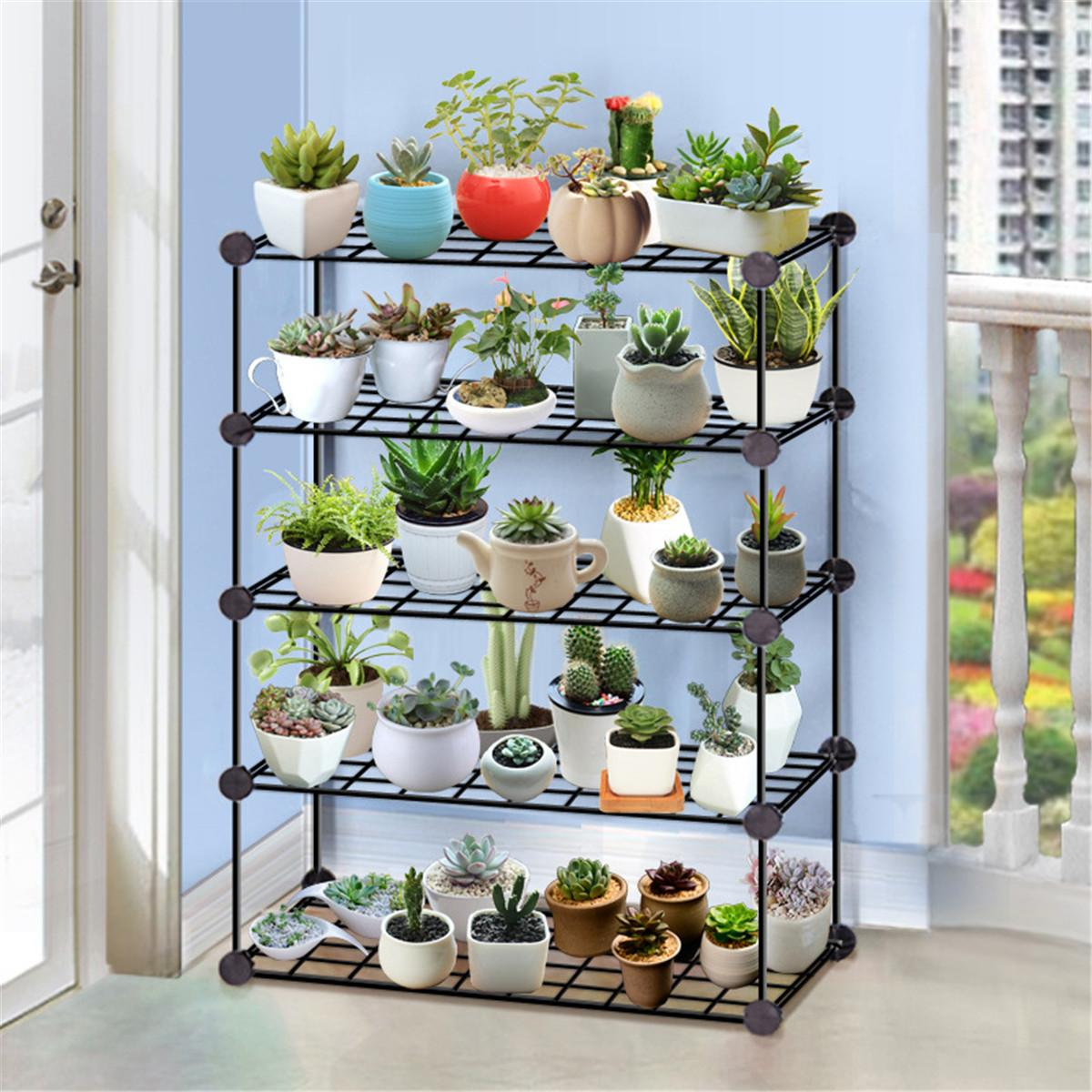Multi-layer Plant Stand Succulent Shelf Household Wrought Iron  Rack Balcony Simple Indoor Coffee Bar Garden Flower Pot Shelf