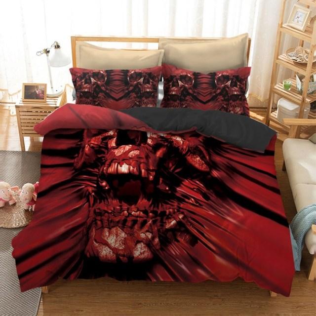 Fanaijia 3pcs Skull Bedding Set King Size Bohemian Print Duvet Cover With Pillowcase Au