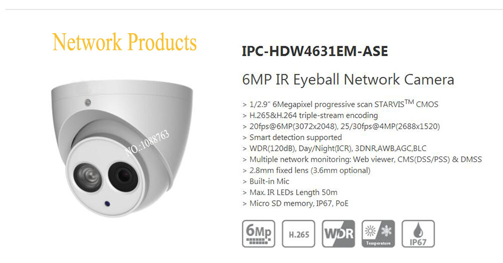 Free Shipping DAHUA Security Outdoor Camera 6MP IR Eyeball Network Camera IP67 With POE without Logo IPC-HDW4631EM-ASE