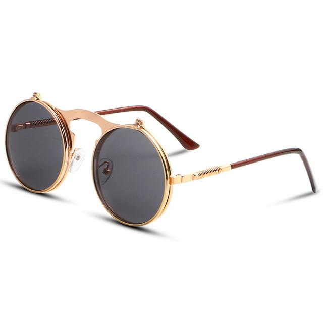 Coating Sunglass Steampunk Round Fashion Sunglasses Women Brand Designer Steam Punk Metal Sun Glasses Men Retro f1xrnLB2
