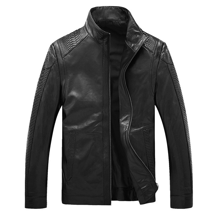 Men\'s high quality Sheepskin Leather Jackets Coat Men\'s jacket Motorcycle jacket Coat parka Men\'s leather python skin Warm (21)