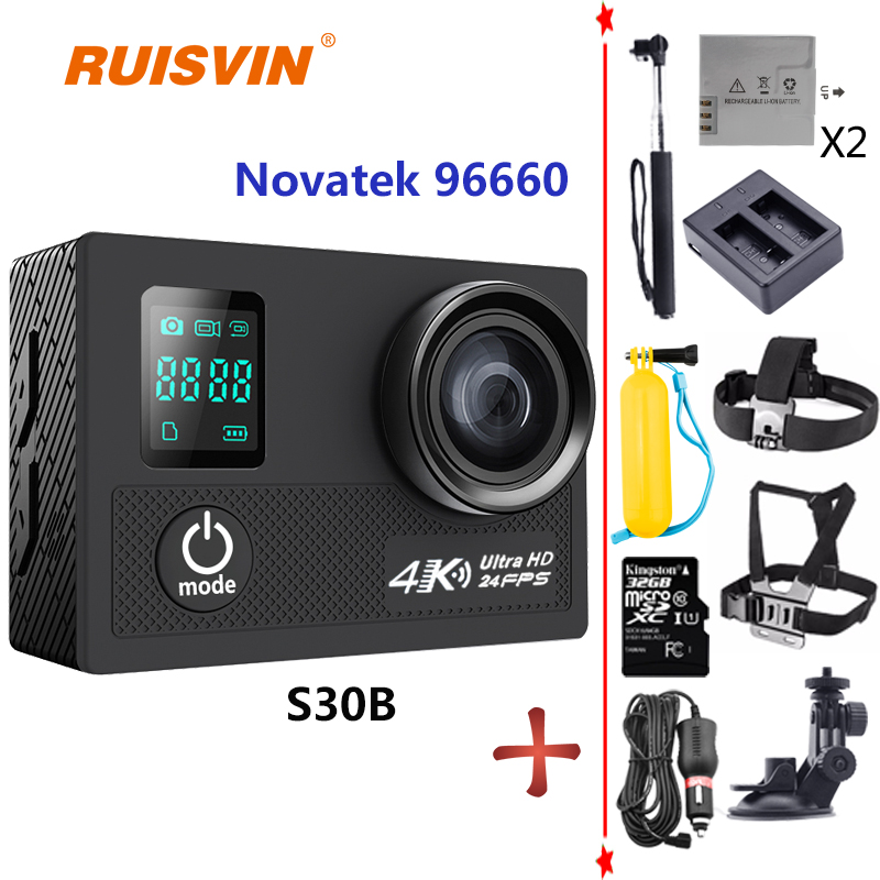 RUISVIN S30B SJCAM Style Action Camera 30M Waterproof 4K 24fps 1080P 60fps Action Cam Sport Camera Helmet Go SJ4000 SJ5000 Pro