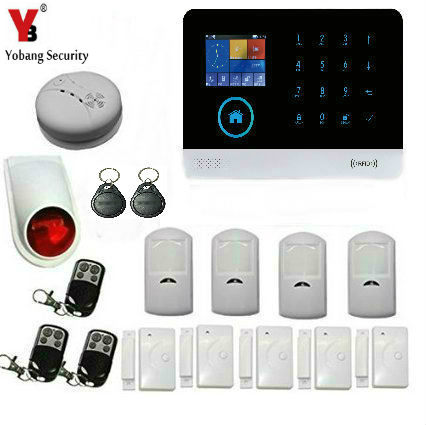 YobangSecurity Wireless Wifi Gsm Home Security System Cellular and WiFi Burglar Alarm Wireless Siren Smoke Detector Door Sensor wireless smoke fire detector for wireless for touch keypad panel wifi gsm home security burglar voice alarm system