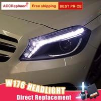 2Pcs LED Headlights For Benz A class W176 15 18 led car lights Angel eyes xenon HID KIT Fog lights LED Daytime Running Lights