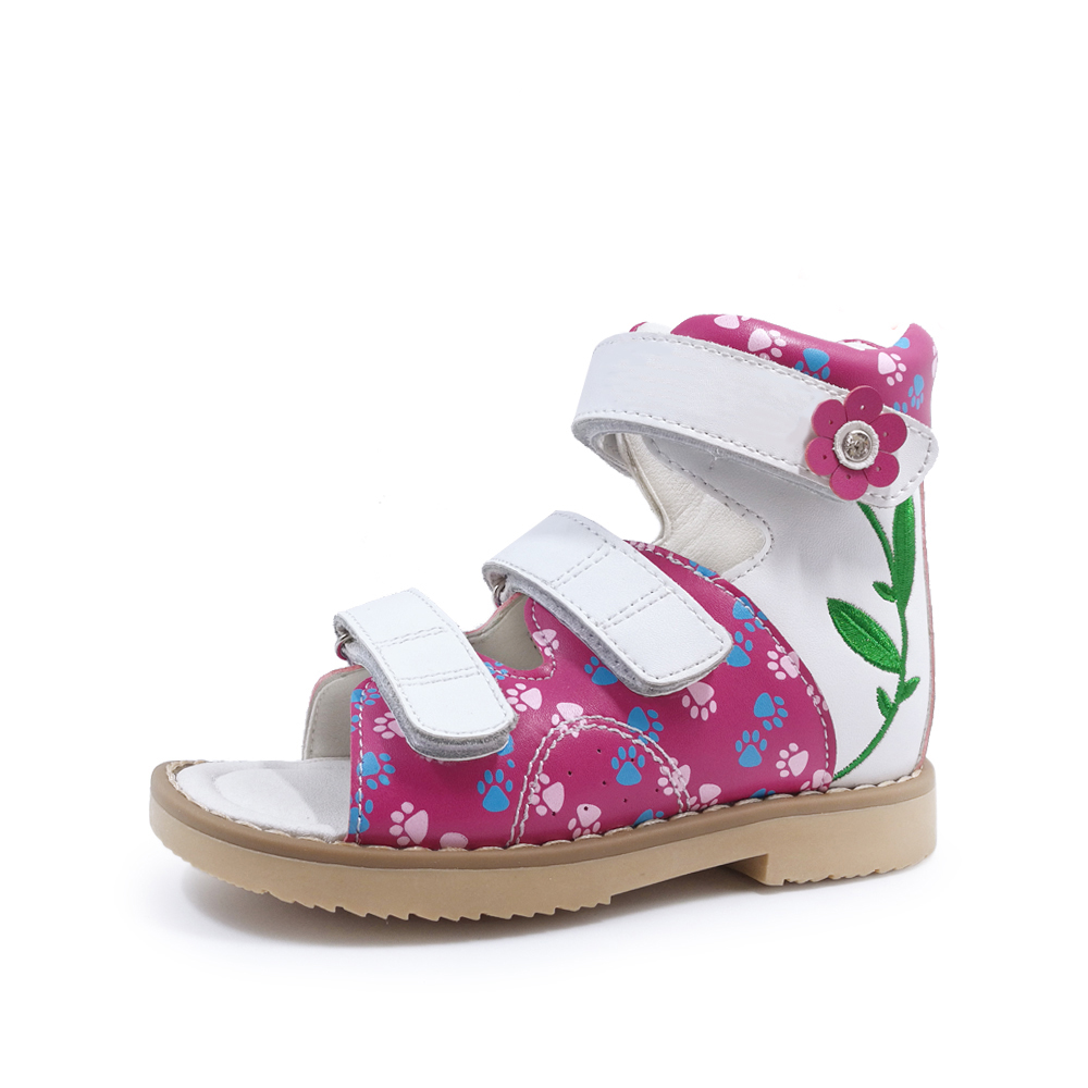 Kids Girls Summer Orthopedic Genuine Leather Sandals Children Lovely Spring Summer Flower Printing Diagnostic Sole Shoes