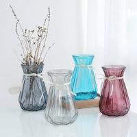 Маленькая стеклянная ваза, прозрачная гидропоника, богатая бамбуковая Лилия, полосатая ваза для дома, гостиной, Цветочная композиция