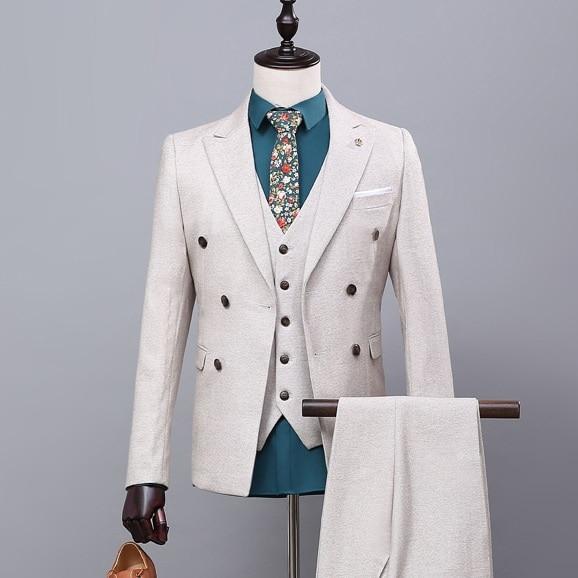 Куртка + брюки + жилет новый костюм для жениха приталеные блейзеры для выпускных, свадеб деловой костюм джентльмен белый Повседневный мужск...