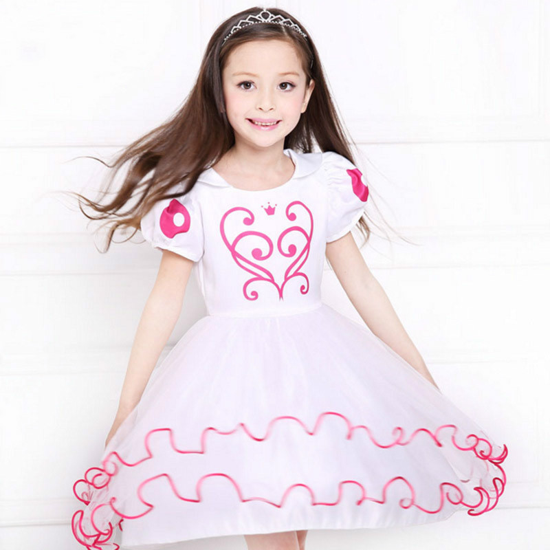 High Quality Children Dress Girls Clothes Kids White Party Costumes Wedding Dress Snow White Princess Dress For Girls. LY04B