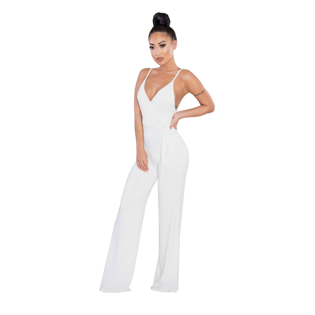 Fashion Summer Sexy Backless Jumpsuit Camisole Elegant White Night